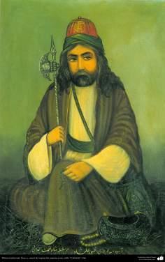 Исламское искусство - Традиционная живопись , настенная живопись , рисование акварелью на гипсе - Стиль кафе - Старый дервиш - 9
