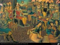 Исламское искусство - Традиционная живопись , настенная живопись , рисование акварелью на гипсе - Стиль кафе - Короли и министры в празднике - 19