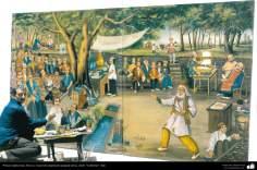 Pintura Tradicional - Afresco em mural, de inspiração popular persa, estilo cafeteria - 17