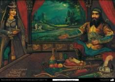 Pintura Tradicional - Afresco em mural, de inspiração popular persa, estilo cafeteria - 7
