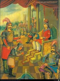 Pintura Tradicional - Afresco em mural, de inspiração popular persa, estilo cafeteria - 10