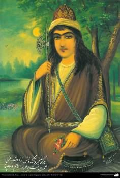 イスラム美術(伝統的な絵画、壁画、カフェスタイルのインスピレーションを受けたフレスコ画 (愛に恵まれた心のある人が死なない・あくまで世界で生きる-29)