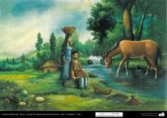 اسلامی فن - روایتی پینٹنگ اور دیواری نقاشی - چونے کی دیوار پر پانی کے رنگ کی پینٹنگ -  دیہاتی زندگی کا ایک منظر- ۲۸