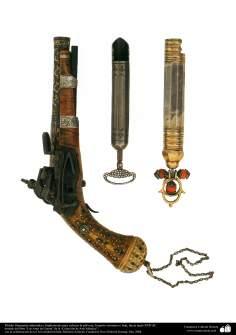 پرانا جنگی ہتھیار - سلطنت عثمانی سے متعلق سجی ہوئی بندوق اور باروت کا ڈبیا - سترہویں صدی عیسوی
