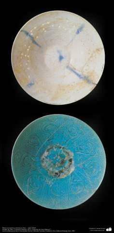 Art islamique - la poterie et la céramique islamiques - le bol  de poterie  avec des motifs-Syrie -XIIe siècle-13