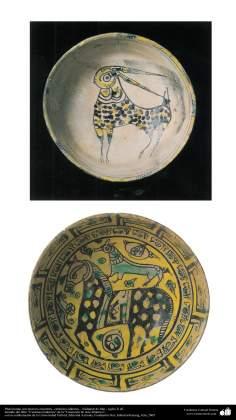 イスラム美術 - イスラム陶器やセラミックス - (乗馬をモチーフにしたお皿- ネイシャブル市 - 10世紀)-17