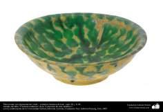 Cerâmica islâmica - Prato fundo com pigmentação verde, feito no Iraque entre os séculos IX e X d.C
