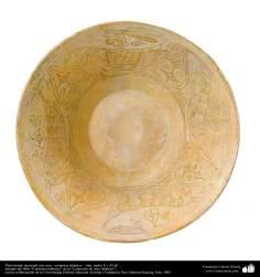 Plato hondo decorado con aves - cerámica islámica – Irán, siglos X y XI dC.