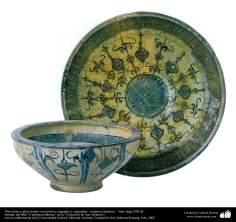 Plato llano y plato hondo con motivos vegetales y caligrafías– cerámica islámica –  Irán- siglo XIII dC.