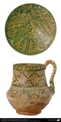 Plato y jarra con motivos vegetales - cerámica islámica – Irán, siglos XI y XII dC.