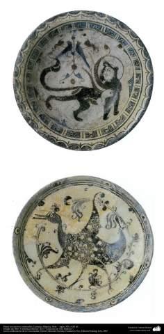 Plats avec des motifs d'animaux; La poterie islamique, la Syrie - XII XIII siècles de notre ère. (74)