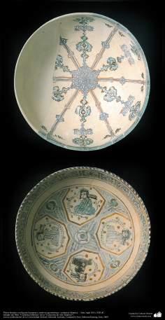 Platos hondos con figuras humanas y motivos geométricas– cerámica islámica –  Irán, siglo XII o XIII dC. (20)