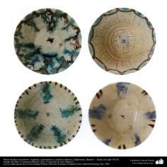 Platos hondos con motivos  vegetales y geométricos; cerámica islámica, Afghanistan, Bamian –  finales del siglo XII dC. (21)