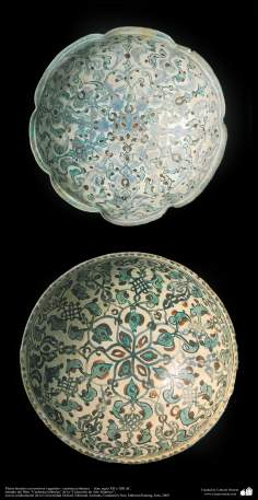 Platos hondos con motivos vegetales– cerámica islámica –  Irán, siglo XII o XIII dC. (7)