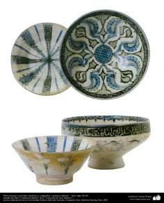 Platos hondos con fondos simétricos y caligrafías– cerámica islámica –  Irán- siglo XII dC.