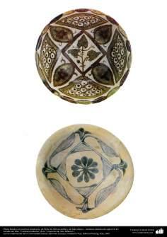 Art islamique - la poterie et la céramique islamiques -Bol avec des motifs géométriques symétriques - fabriqué en Afrique (ci-dessus) et en Irak (ci-dessous) - IXe siècle.