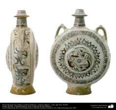 Porrón decorado con esfinges y motivos simétricos– cerámica islámica –  Irán, siglo XII o XIII dC.