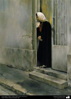 """worried"" (1986) - realisitic painting;Oil on Canvas- Artist: Prof. Morteza Katuzian"