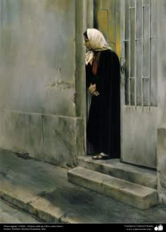 """Preocupada"" (1986) - Pintura realista; Óleo sobre lienzo- Artista: Profesor Morteza Katuzian"