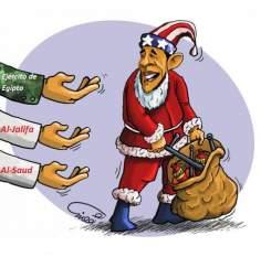 Regalos de EEUU a los países árabes en la Navidad ( (caricatura)