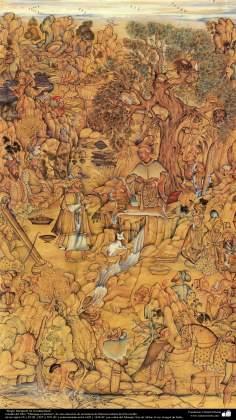 """اسلامی فن - """"مرقع گلشن"""" نام کی مختلف فنون کی تاریخی کتاب سے ایک مینیاتور پینٹنگ (تصویرچہ)، """"جنگل میں ضیافت"""" - سن ۱۶۰۵ء"""