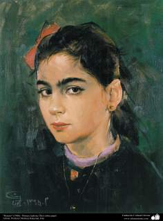 """""""Retrato"""" (1986) - Pintura realista; Óleo sobre papel- Artista: Profesor Morteza Katuzian, Irán (3)"""