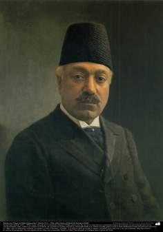 """Art islamique - peinture à l'huile sur toile - artiste: Kamal-ol-molk -""""une image de Nasser al-Mulk"""" -1911"""