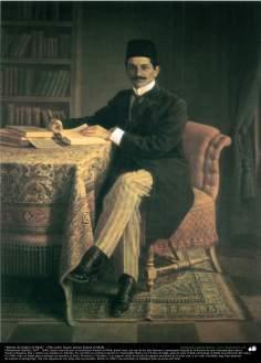 """""""Retrato de Hakim-ol Molk"""" - Óleo sobre tela; artista: Kamal ol-Molk"""