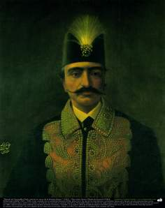 """Portrait of Nasereddin Shah -One of the kings of the Qayar dinasty-"" (1881) - Oil in canvas; Painting by Kamal ol-Molk"