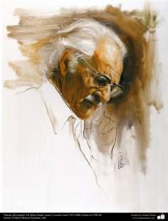 """Arte islamica-Pittura-Olio su tela-Opera di maestro Morteza Katusian-""""Ritratto di Ali Akbar Sanati,pittore e scultore iraniano""""-1990"""