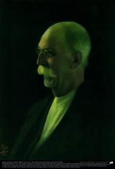 Retrato del pintor -Kamal ol-Molk- en el vejes - Óleo sobre lienzo (hacia 1922); por Kamal ol-Molk