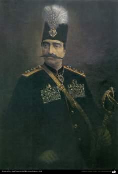 Retrato del rey Qajar Nassered-Din Sha; Artista: Kamal ol-Molk