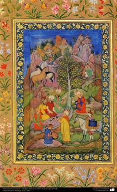 """اسلامی فن - ایک مینیاتور پینٹنگ (تصویرچہ)، """"باغ میں محفل"""" - سترہویں صدی عیسوی"""