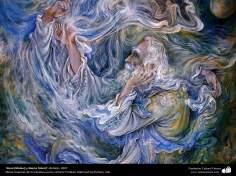 """""""Rumí (Molavi) y Shams Tabrizi"""", (detalle) 2007, Obras maestras de la miniatura persa; por Profesor Mahmud Farshchian"""