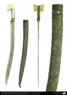 Gli antichi attrezzi bellici e decorativi-La spada e il fodero decorati con pietre preziose-Impero ottomano-1280 E.L