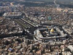 Aereal view of the two Holy Shrines in the city of Karbala - Irak