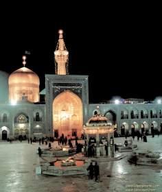 Santuário do Imam Rida (AS) e uma imagem de sua cúpola ilumina, Mashhad- Irã