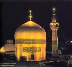 Cúpula do Santuário do Imam Reda (AS) refletindo a iluminação e mostrando sua bela caligrafia,  Mashad, Irã