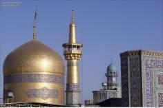 Detalhes da cúpula e minarete do Santuário do Imam Rida (AS), Mashad, Irã