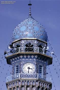 イスラム建築(マシュハド市におけるイマム・レザ聖廟の時計ミナレット)-1