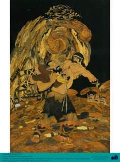 """""""Siamak"""" e o horrível  """"Joruzan Diw"""" - Personaguens do épico Persa Shahnameh - Marchetaria Persa"""