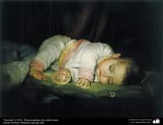 """Art islamique - peinture à l'huile sur toile - artiste: M. Katouzian -""""Sans commentaire """" - 1990"""