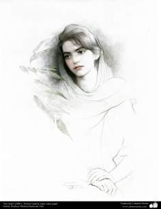 """""""Sin titulo"""" (2001) - Pintura realista; lápiz en papel- Artista: Profesor Morteza Katuzian, Irán (2)"""