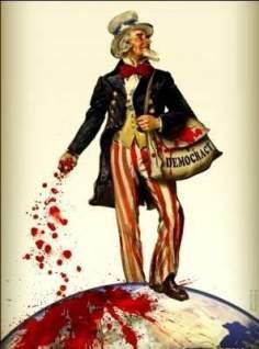 Tío Sam Sembrando Muerte y Destrucción por el Mundo (caricatura)