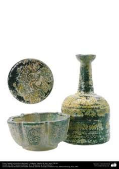 Taza y botella con motivos simétricos – cerámica islámica de Irán –siglo VIII dC.