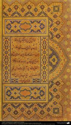 """Tazhib"" or ornamentation and miniature and calligraphy , Nastaligh style - ""Muraqqa-e Golshan""book - 1605 and 1628 AD. - 10"