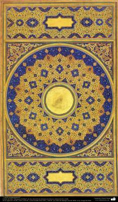 """اسلامی فن - """"مرقع گلشن"""" نام کی مختلف فنون کی تاریخی کتاب سے ایک فن تذہیب کی سجاوٹ، سن ۱۶۰۵ء"""