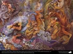 Tiempos de infinito agarre.( detalle) 1991/ Obras maestras de la miniatura persa; Artista: Profesor Mahmud Farshchian, Irán