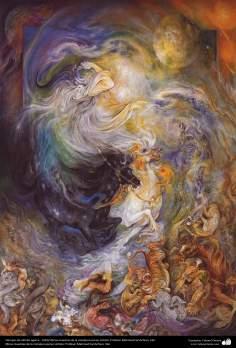 Tiempos de infinito agarre.. 1991/ Obras maestras de la miniatura persa; Artista: Profesor Mahmud Farshchian, Irán