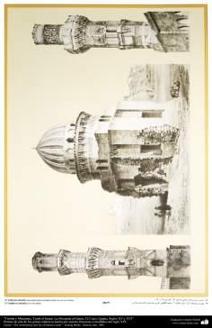 Art & Islamic Architecture in painting - Tomb and Minarets, Turab Imam, al-Qaími Mosque, Cairo, Egypt, XV and XVI Centuries